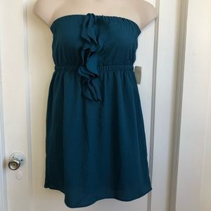 New w/ Tags. Lush Teal Strapless Dress Size Large